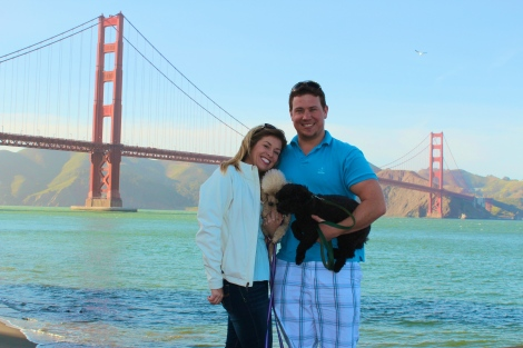 Chris, Courtney, Scarlett, Bordeaux at Golden Gate Bridge